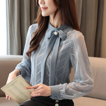 Autumn blouse women 2019 ladies tops long sleeve button bow solid blue for shirts chiffon Stand blusas femininas 0344