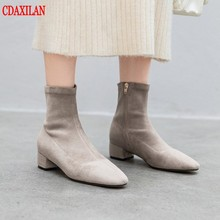CDAXILAN new to womens short boots lycra fabric genuine suede inner pigskin velvet Mid-heels side zipper ankle