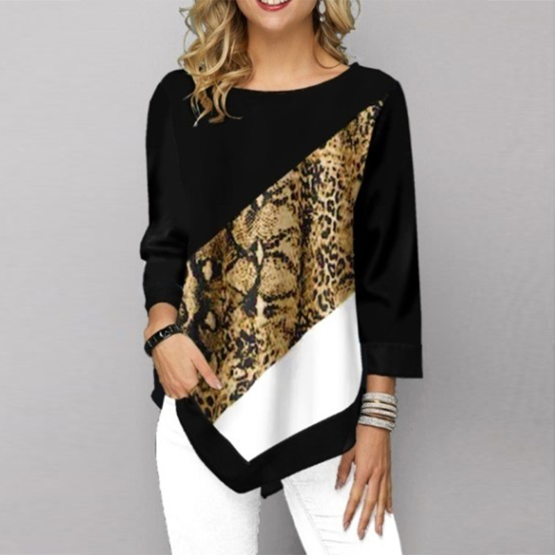 White Women's Shirt Elegant Flower Printed Women's Blouse Casual Patchwork Three Quarter Sleeve Tunic Plus Size Leopard Shirt