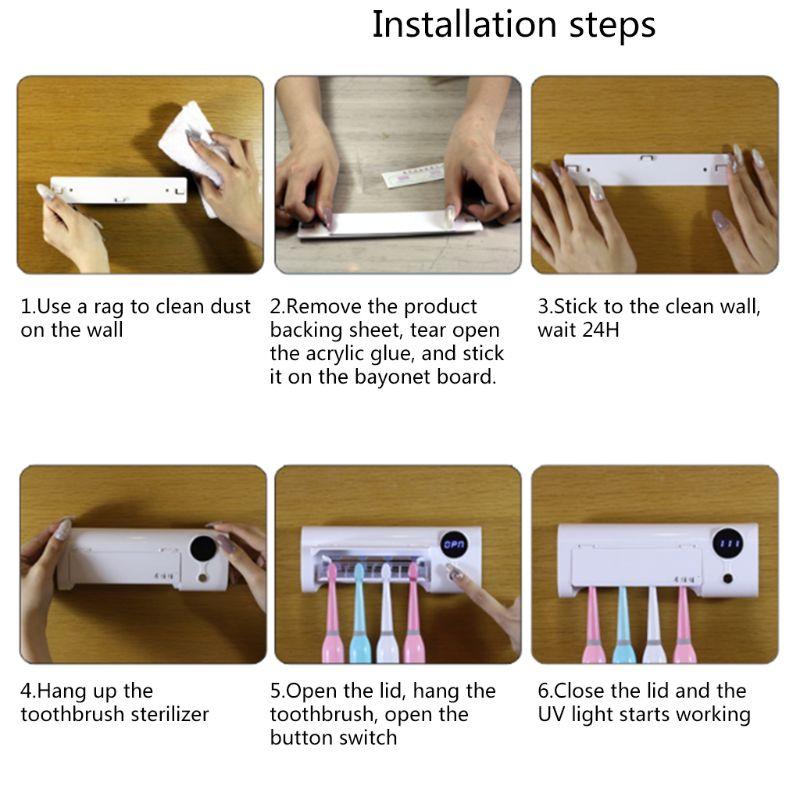 Купить с кэшбэком 2 in 1 UV Light Ultraviolet Toothbrush Automatic Toothpaste Dispenser Sterilizer
