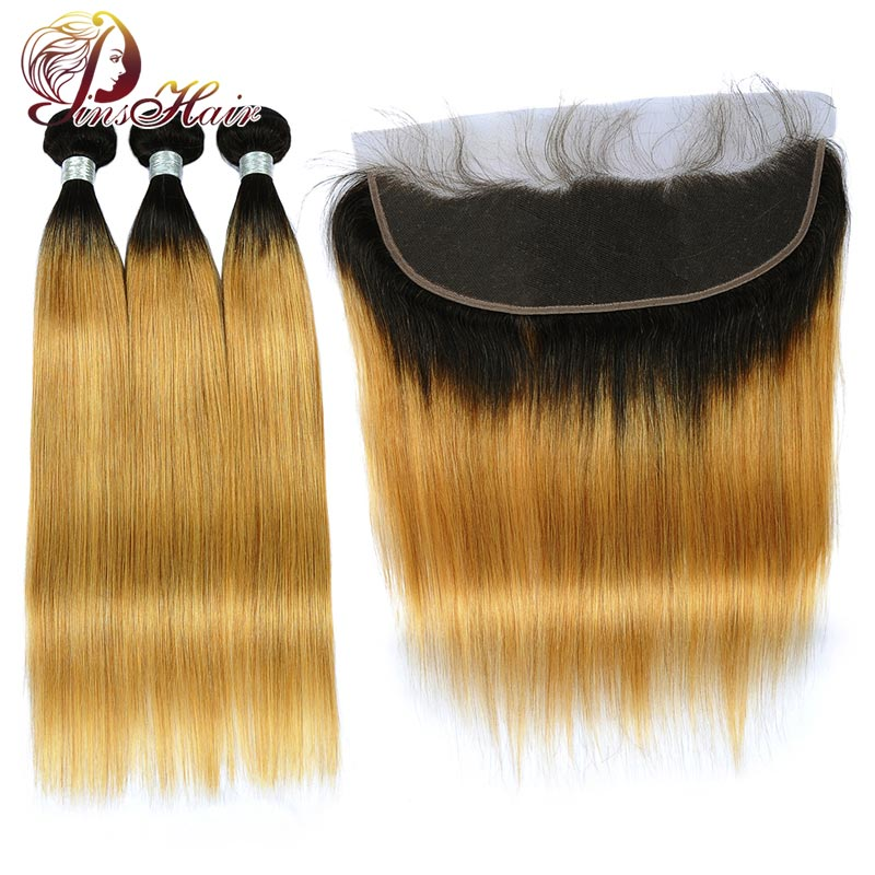 Pinshair T1B/27 Honey Blonde Colored Straight Hair Ombre Bundles With Frontal 13*4 Baby Hair Peruvian Human Hair Weave Nonremy