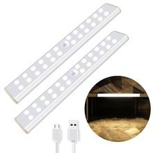 Bezprzewodowe z czujnikiem ruchu czujnik lampka do szafy USB akumulator 24 40 60 szafka LED oświetlenie magnetyczne zdejmowane do szafy schodów szuflady tanie tanio 5000hrs Aluminium ROHS Wireless USB Rechargeable Kitchen Lights Przełącznik 190*30*14mm 300*30*14mm 400*30*14mm 24 pcs 40 pcs 60 pcs