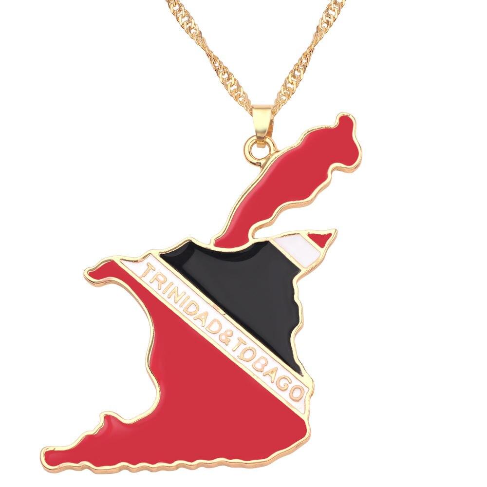 Новая карта страны, флаг, ожерелье, Африка, Гана, Liberia Undersea, Jamaica, Южная Африка, Congo, Honduras, подвеска, цепь, мужские ювелирные изделия - Окраска металла: Trinidad and Tobago