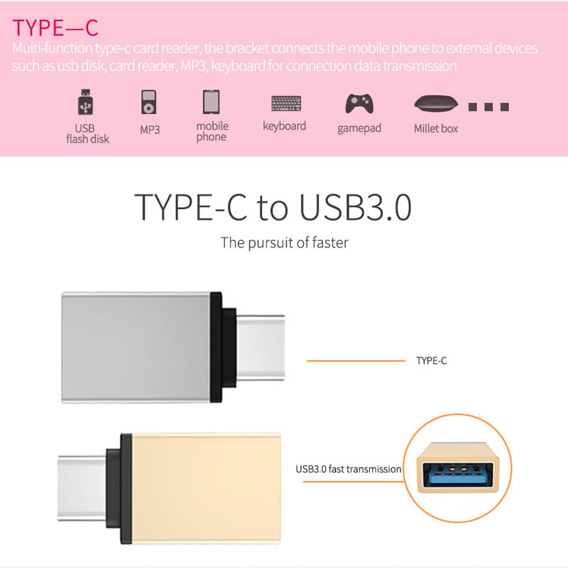 Type C To USB 3.0 OTG Cable Adapter Type C Adapter USB C Converter For Samsung Galaxy S9 Huawei P20 MacBook USB OTG Adapter