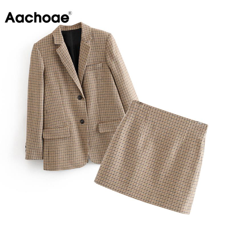 Fashion Office Ladies Suit Set Women Two Piece Houndstooth Set Elegant Single Breasted Blazer With High Waist Chic Mini Skirt