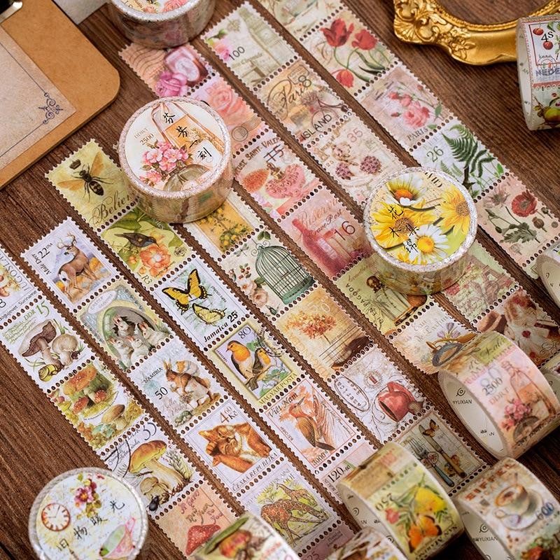 Retro Stamp Philately Series Bullet Journal Washi Tape Plant Mushroom Decorative Adhesive Tape DIY Scrapbooking Sticker Label