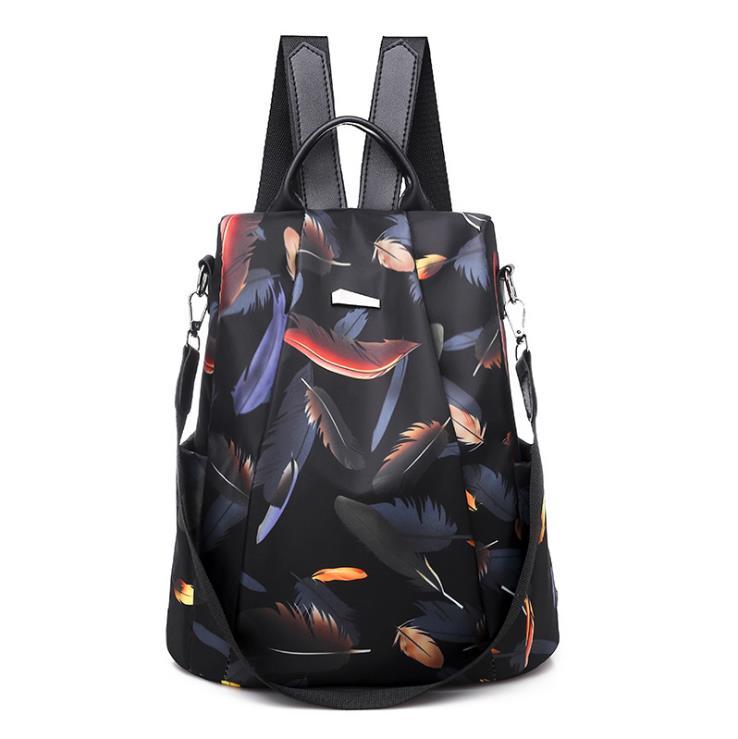 Women Ladies Backpack Fashion Stylish School Bag Feather Pattern Printed Zipper Waterproof Bag