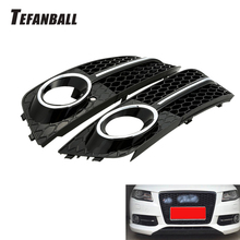 1 Pair Fog Light Cover Grille Grill For Audi A4 B8 RS4 2008-2012 Car Front Bumper Light Grills in Racing Grills Auto Accessories