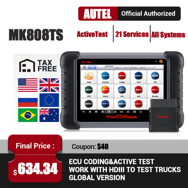 Autel MK808TS Professional Automotive Scanner TPMS Programming OBD2 Bluetooth Scanner Car Diagnostic Scan Tool Auto Scan MK808