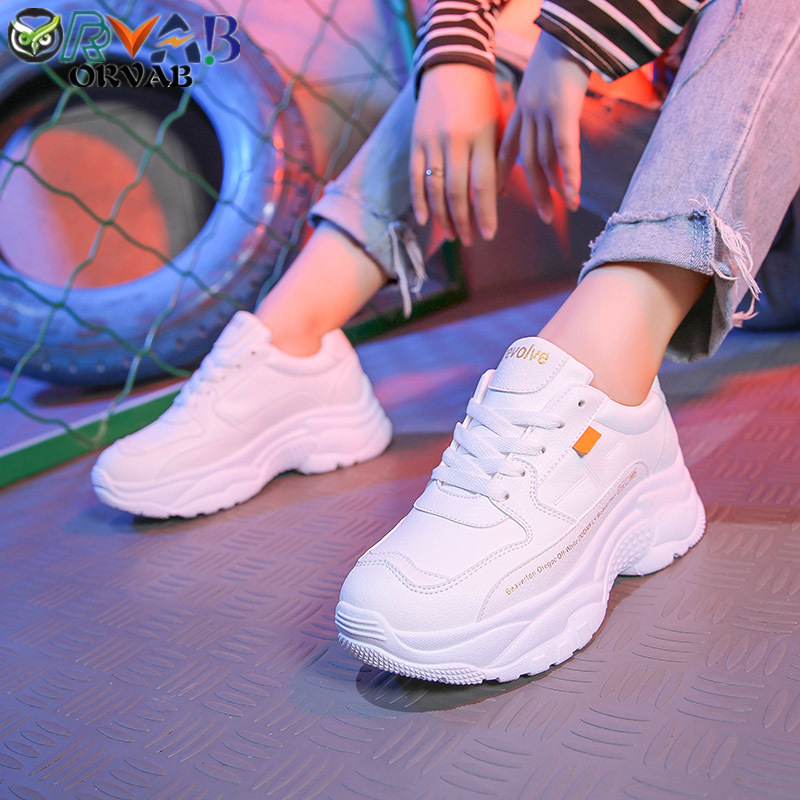 Sneakers Women Tenis Feminino 2019 Fashion Split Leather Chunky Shoes Woman Platform Sneakers Spring Autumn Women Casual Shoes