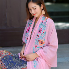 2019 Linen Embroidery Flower Wide Long Big Ethnic Women Girl Shawl Wrap Pashimina Scarf Fashion Accessories-MHC-W6