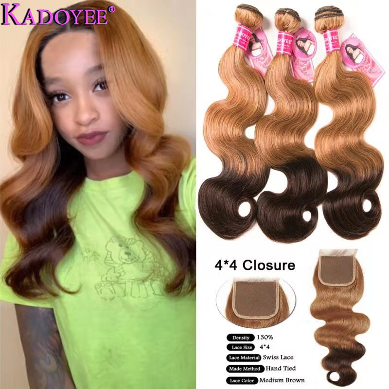 27/4 Ombre Body Wave Human Hair 3 Bundles And Closure Brazilian Remy Hair Weave 3 Bundles With Closure Brown 8-26