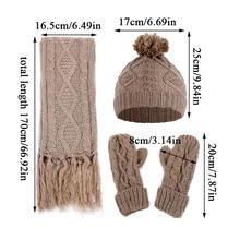 Модная женская шерстяная Толстая вязаная шапка шарф и перчатки