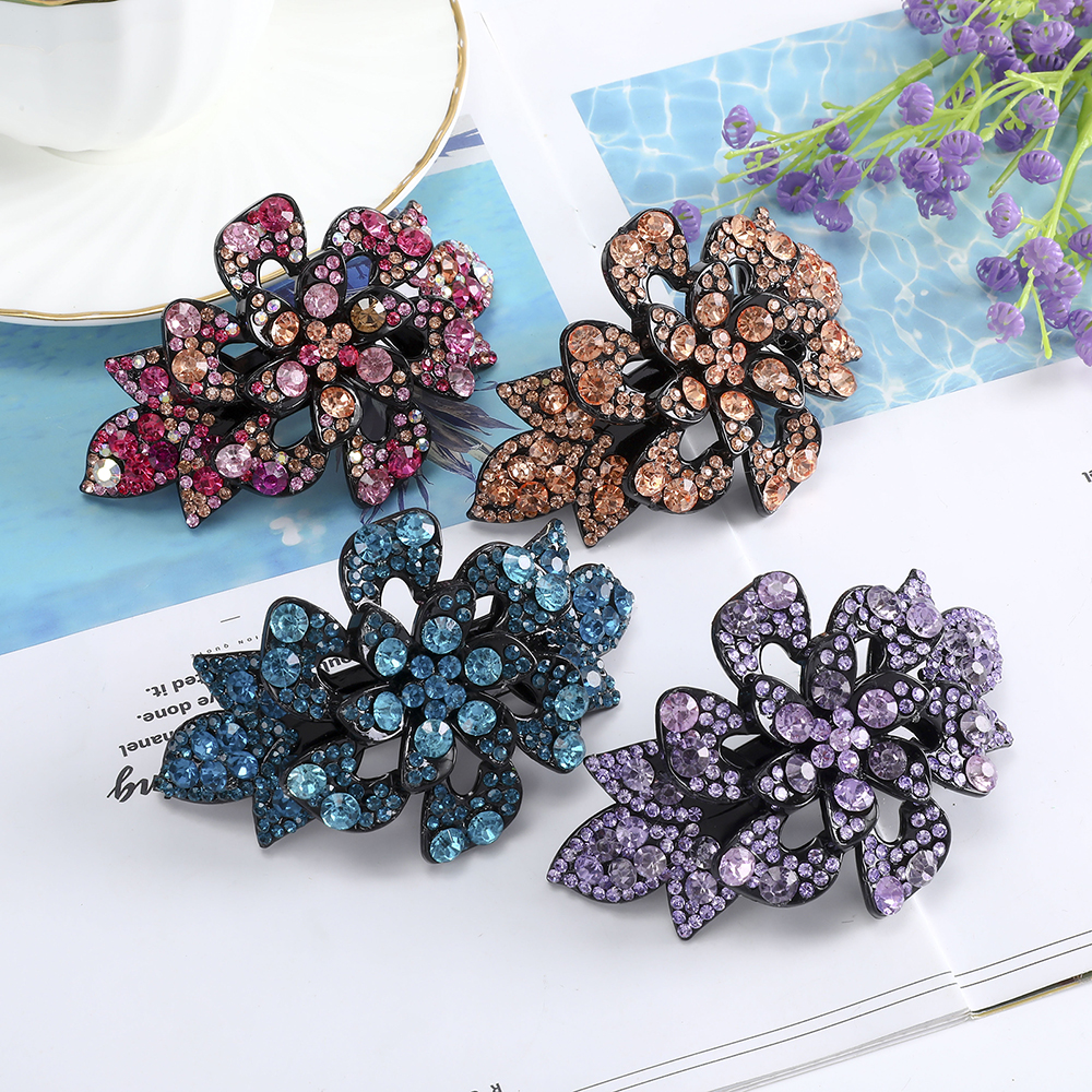 Fashion Acrylic Colorful Crystal Hairpins Exquisite Hair Clips For Women Ponytail Holder Girls Gifts Hair Accessories Hair Grip|Women's Hair Accessories| - AliExpress