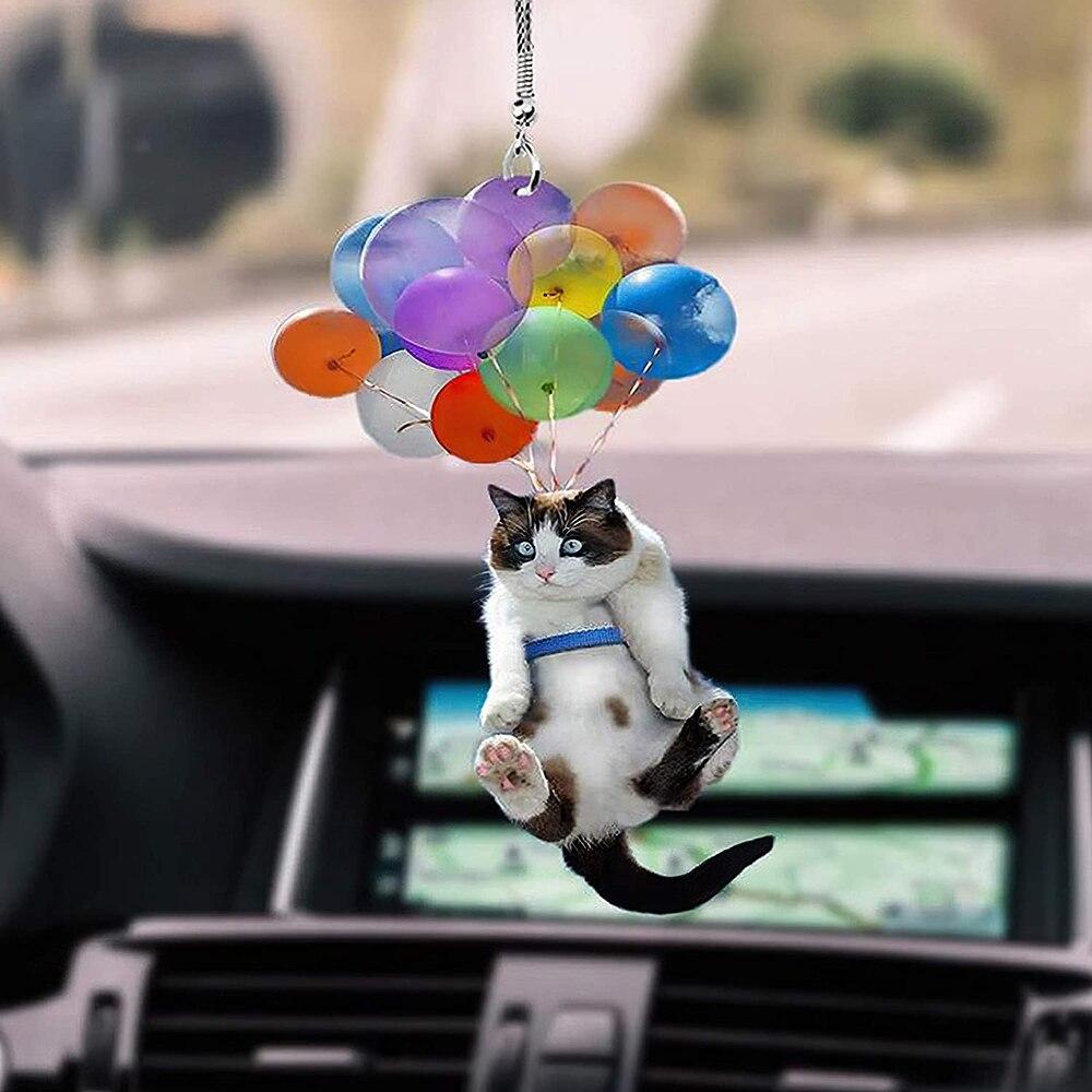 Подвесное украшение в виде кота с красочными воздушными шарами, украшение для салона автомобиля, аксессуары для украшения дома, эстетическ...