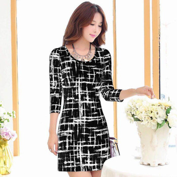 2020 Long Sleeve Plaid Casual Winter Autumn For Women O-Neck Black White Woman Party Night Mini Dress Plus Size Vestidos Dresses 5