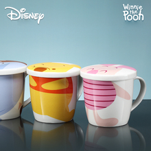 Disney Mug with Lid and Spoon Ceramic Cup Cute Cartoon Milk Coffee Bear Winnie Water Lulu Lemon Cups Mugs
