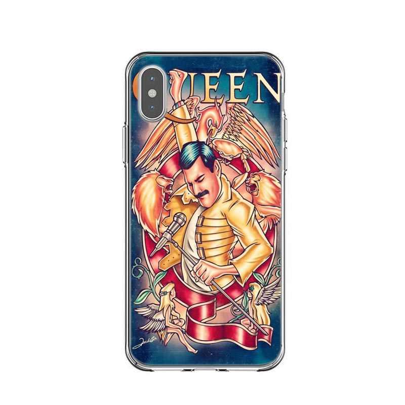 Фредди Меркури Queen band с принтом, мягкий из ТПУ силиконовый чехол для телефона Чехлы для iPhone X 5 5S SE 6 6SPlus 7 8 Plus XS MAX XR XS