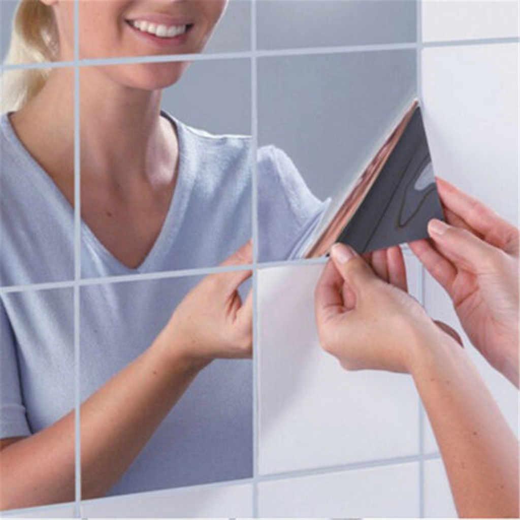 Фото 9 шт./компл. квадратное зеркало плитка Стикеры s самоклеящиеся настенные дома