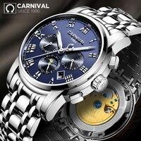 2019 Novo CARNAVAL Simples Multi Função Men Watch Top Marca de Luxo Relogio Moda Relógios Mecânicos de Aço À Prova D' Água Luminosa|Relógios mecânicos|Relógios -