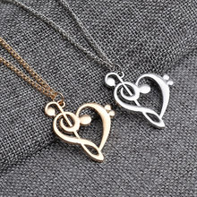 Wholesale Music Note Heart of Treble and Bass Clef Necklace Women Infinity Love Charm Pendant Necklace Stainless Steel Jewelry(China)
