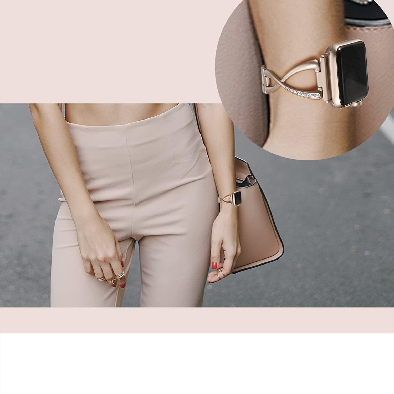 Купить с кэшбэком Diamond strap For Apple Watch band 38mm 42mm 40mm 44mm iWatch 5 bracelet women Stainless Steel Strap Apple Watch Accessories