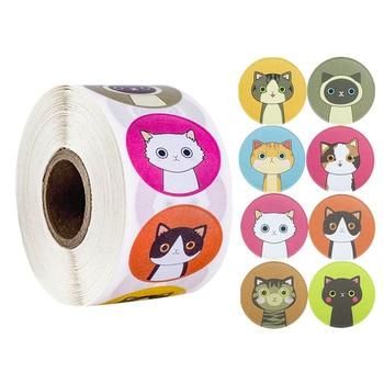 100-500pcs/roll Lovely Cat Stickers For School Reward Classroom Decoration Encouragement Sticker Student Teacher - discount item  52% OFF Stationery Sticker