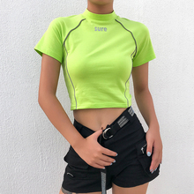 Ladies Black Slim Sexy Cropped T Shirt Streetwear Women Short Sleeve Crewneck Tshirt Basic Crop Top T-Shirt Womens Tops