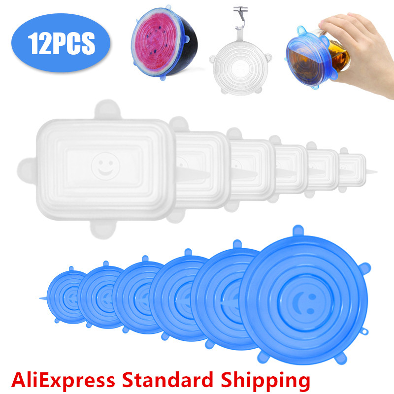 12pcs Magic Lid Reusable Silicone Food Cover Stretch Lids Universal Food Wrap Cover Food Fresh Keeping Silicone Caps Stretchable
