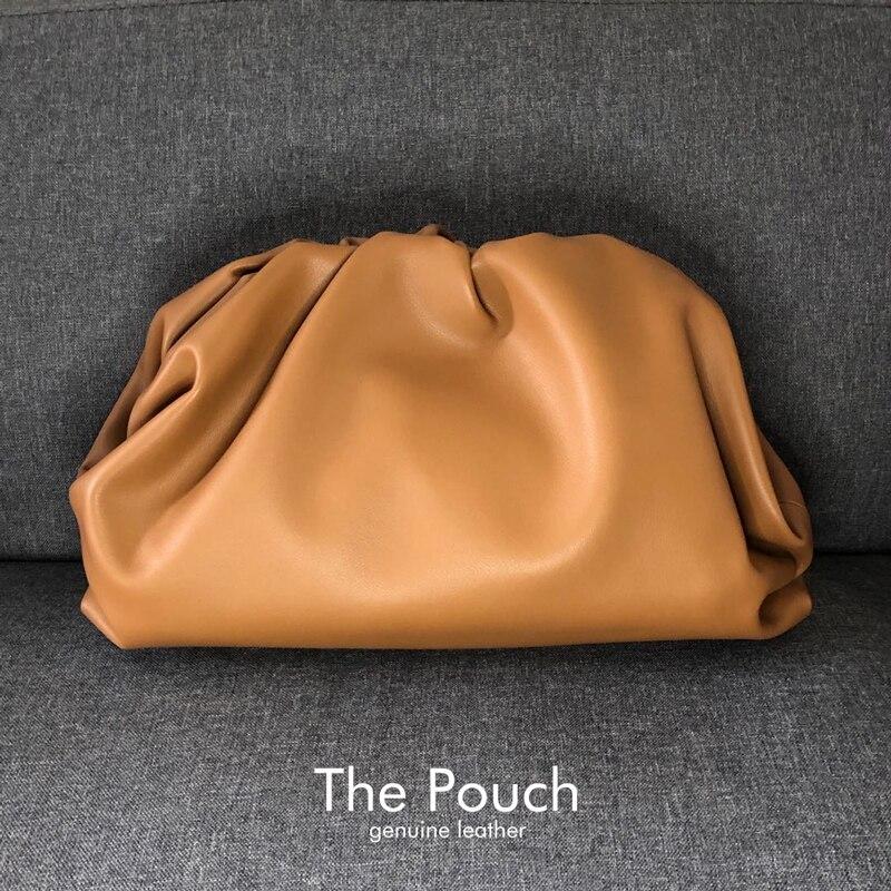 Moda famosa marca de luxo estilo sacos das mulheres a nuvem bolsa sólida bolsa couro genuíno dia embreagem qualidade