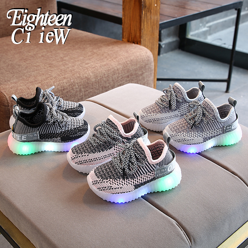 Size 21-30 Children Sport LED Shoes Girls Boys Antislip Running Glowing Sneakers Baby Toddler Breathable Shoes Luminous Sneakers