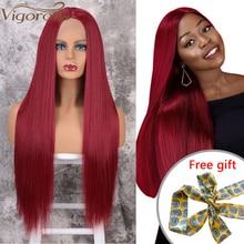 Волнистые красные парики фронта шнурка для женщин, Синтетические длинные прямые парики средней длины, Термостойкое волокно, натуральный вид 13x4