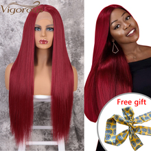 Vigorous Red Lace Front Wigs for Women Synthetic Long Straight Wigs Middle Parting Heat Resistant Fiber Natural Looking