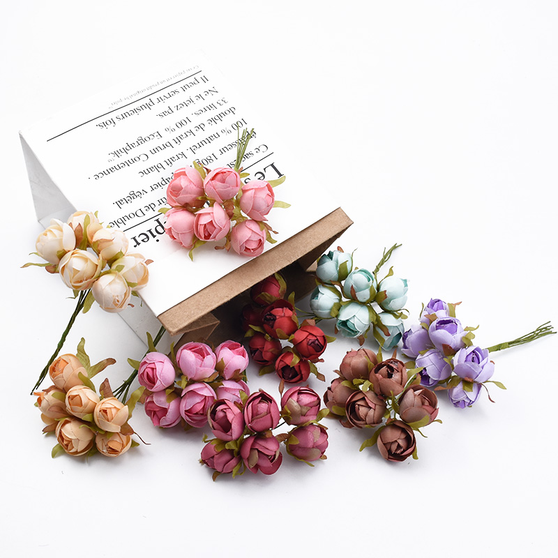 6pcs Roses Cheap Artificial Flowers For Wedding And Christmas Decorations