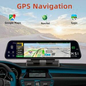 """Image 3 - Bluavido espelho de vídeo para carro, espelho de vídeo de 12 """"ips dvr gps 2g ram 4g lte android 8.1 com gravador e navegação câmera retrovisor hd 1080p"""