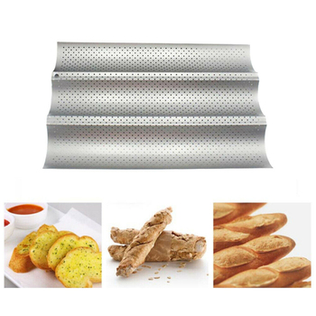 3 Groove Waves French Bread Baking Mold Bread Wave Baking Tray Practical Cake Baguette Mold Pans Non-Stick Bread Baking Tools 3 4 groove waves french bread baking tray bread baking pan reusable non stick baguette bread wave mold toast baking supplies