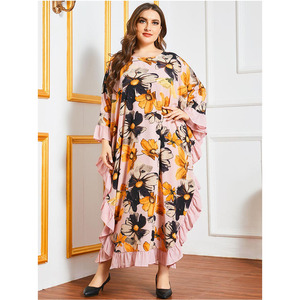 Abaya Dubai Women Print Long Dress Oversize Ruffle Ramadan Maxi Kaftan Jilbab Arabic Robe Loose Islamic Clothing Middle East New