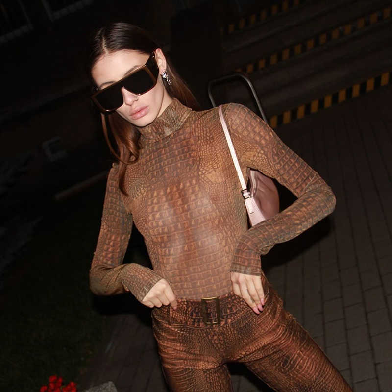 HEYounGIRL Crocodile Animal Print Bodysuit Women Long Sleeve Bodycon Jumpsuit Autumn Winter Ladies Bodies with Thumb Hole Party
