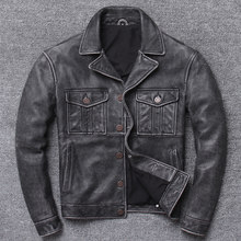 Lear Lear Man Brief Paragraph Locomotive Winter Jacket Coat Lapels New Washing Do Old Head Layer Cowhide Restoring Ancient Ways(China)