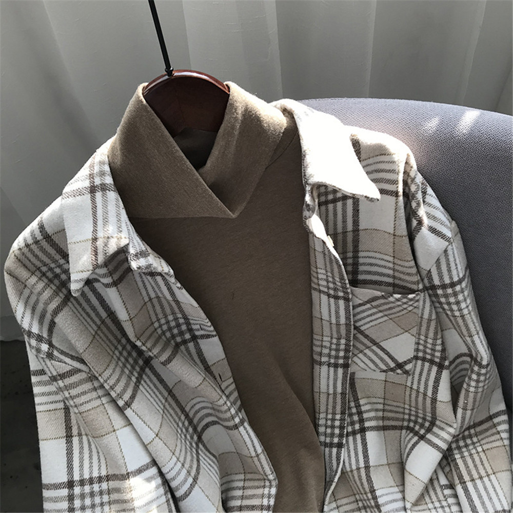 Spring Thick Loose cotton plaid Women blouses shirt 2020 female long sleeve Casual Warm women Blouse shirt office lady top Y0675 (31)