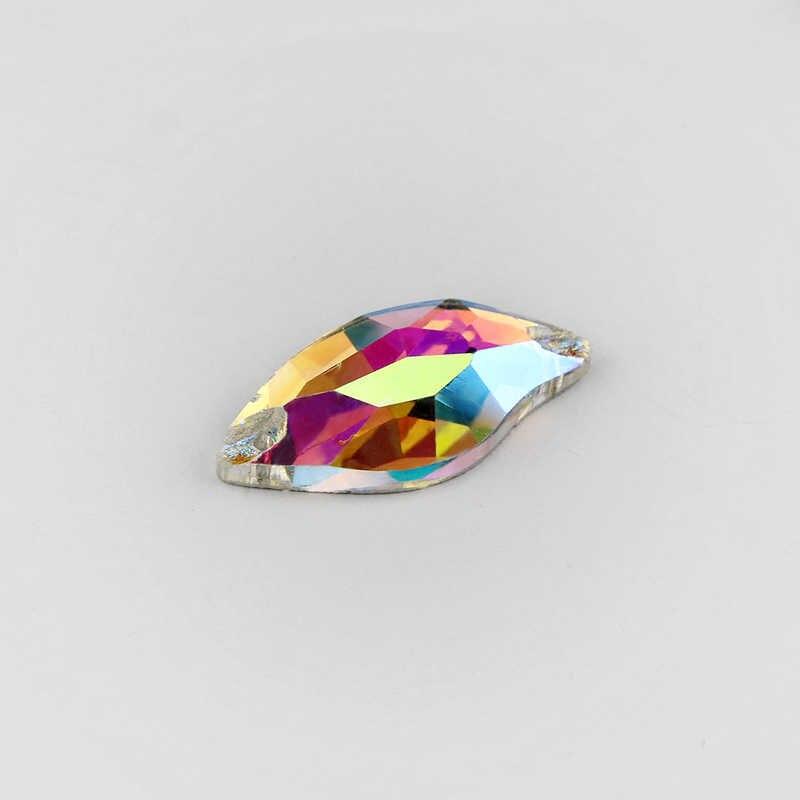Semua Bentuk Menjahit Berlian Imitasi Jahit Kristal AB Pipih Tombol Kaca Lubang Rivoli Oval Jantung AB Warna untuk Pernikahan Gaun