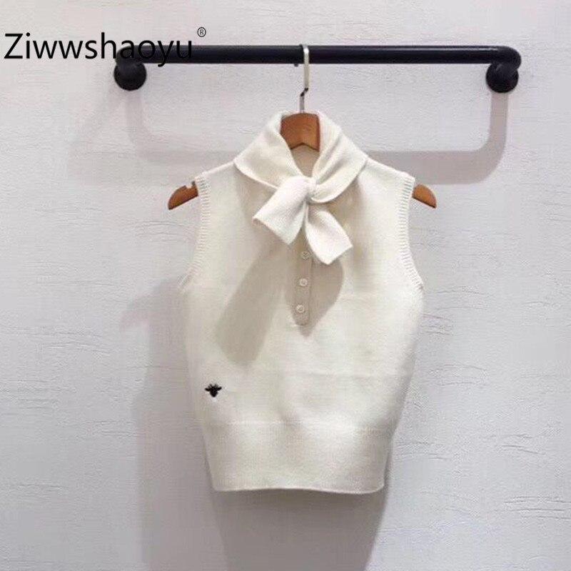 Ziwwshaoyu Designer Autumn High End Wool Blend Spider Embroidery Sleeveless Sweater Pullover Women's