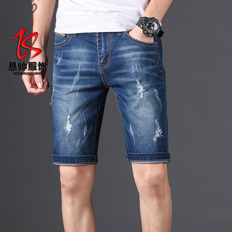 2019 Summer Denim Shorts Men's With Holes Slim Fit Pants Teenager Elasticity Shorts Loose-Fit 5 Shorts Fashion