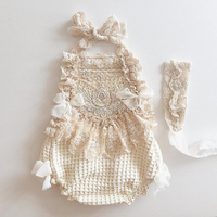 Baby Lace Rompers Infant Lace Romper with Straps Ribbon Kids Jumpsuit Baby Girls Lace Ruffled Petti Romper LS0007