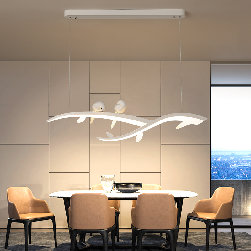 Modern Led Hanging Chandelier For Dining Room Kitchen Room Bar Shop Chandelier White With Bird 90 260V Free Shipping-in Chandeliers from Lights & Lighting