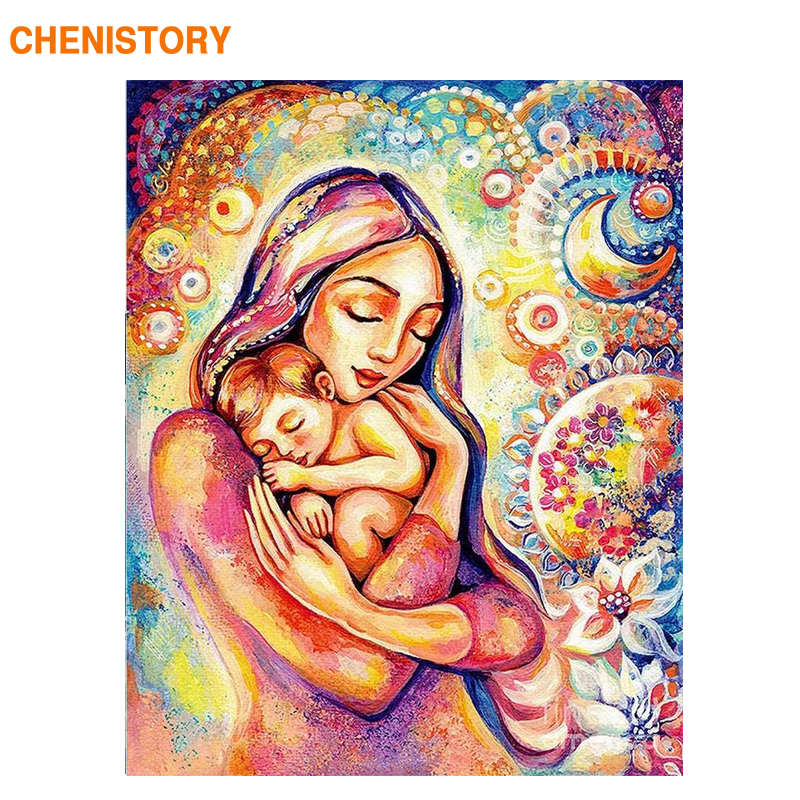 CHENISTORY Framed Mother Love DIY Painting By Numbers Modern Wall Art Picture Acrylic Paint On Canvas For Home Decors Artwork
