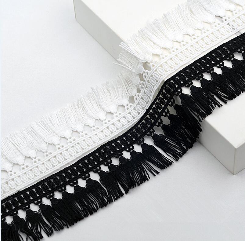 MegaPet White Polyester Fringe Tassel Lace Trim 1 Inch x 82 Feet Chainette Fringe Fibre Trim for Sewing Quilting DIY Home Decoration