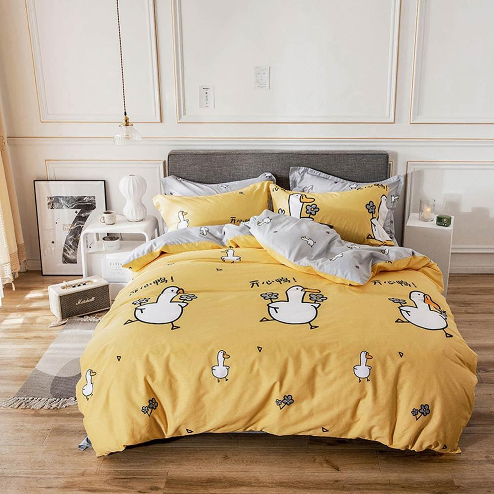 2019 Cartoon White Ducks Yellow Bed Cover Duvet Cover Set Cotton Bedding Set Bedlinens Twin Queen King Flat Sheet Fitted Sheet