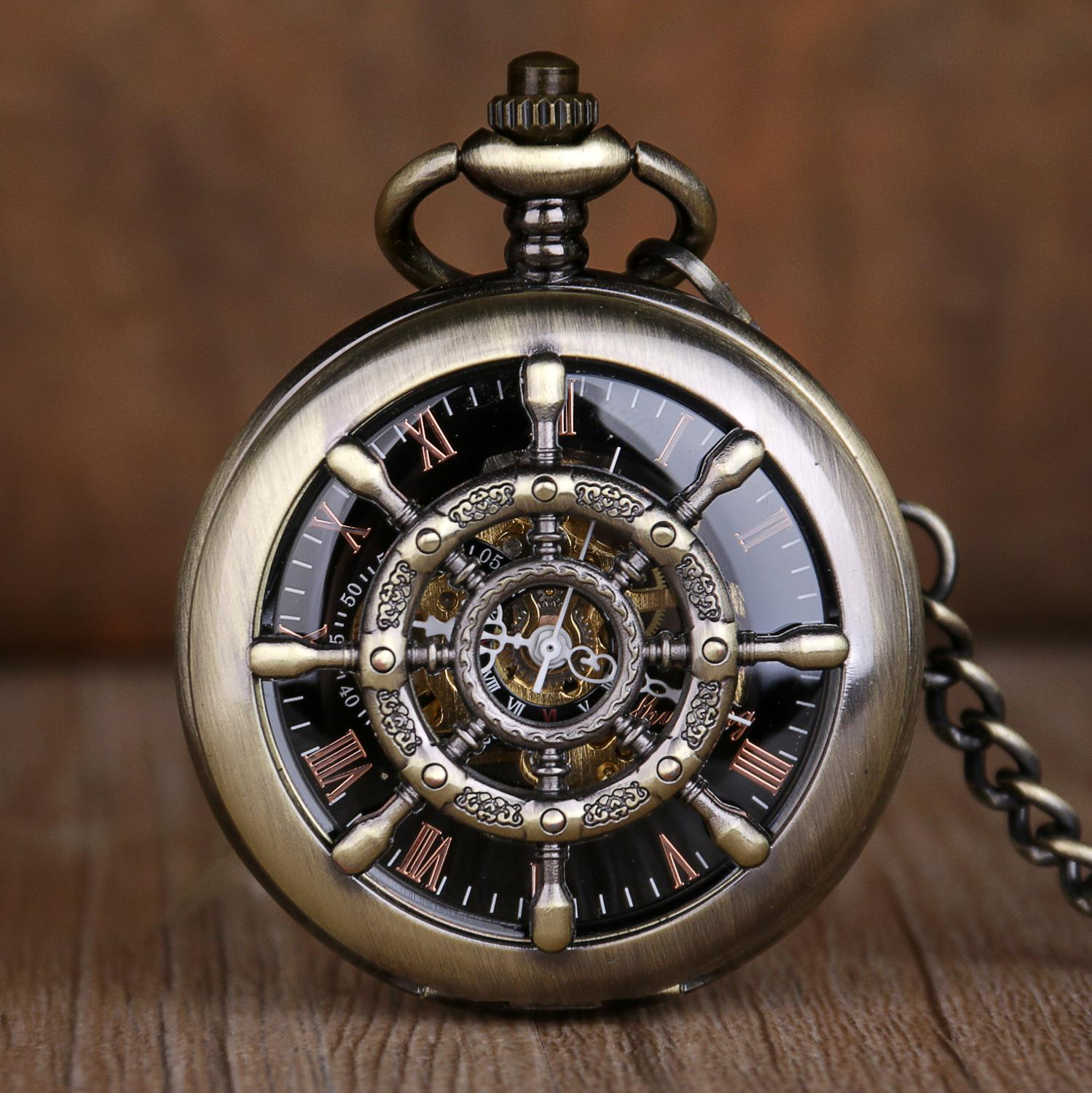 Bronze Steampunk Skeleton Mechanical Pocket Watch Men Antique Luxury Brand Necklace Pocket & Fob Watches Chain Male Clock