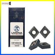 10 pçs lamina ccmt060204 nn lt10 buraco interno ferramentas de torneamento carboneto inserção cnc centro usinagem torno cortador torneamento ferramenta inserções